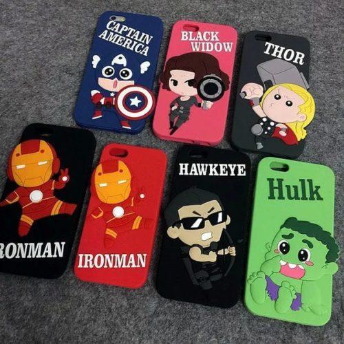 "На картинке чехол ""Мстители"" на айфон 5-5S-6 (Марвел \ Marvel), вид спереди, 7 вариантов."