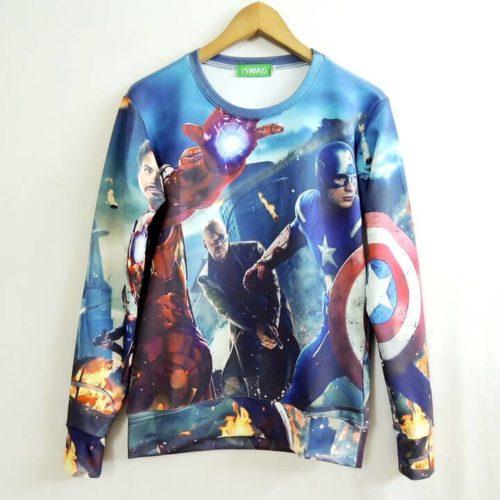 На картинке свитшот «Мстители» (Марвел \ Marvel), вид спереди.
