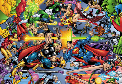 На картинке мини-фигурки Мстителей (Марвел \ Marvel), кадр из комикса.