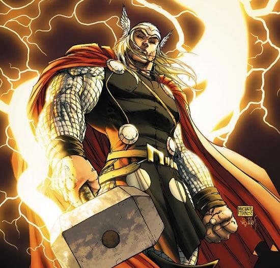 На картинке кошелек с богом Тором от Марвел, кадр из комикса.
