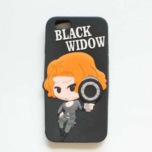 """На картинке чехол """"Мстители"""" на айфон 5-5S-6 (Марвел \ Marvel), вид спереди, вариант Черная Вдова."""