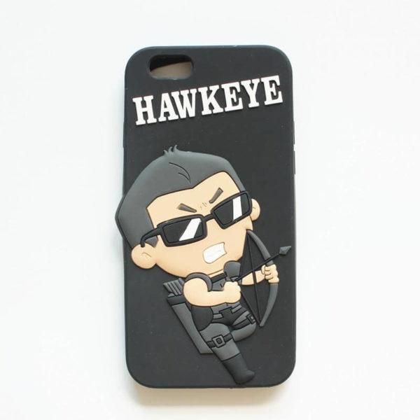 """На картинке чехол """"Мстители"""" на айфон 5-5S-6 (Марвел \ Marvel), вид спереди, вариант Соколиный Глаз."""