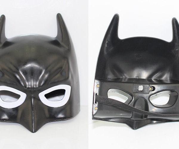 На картинке маски «Мстители» (Марвел \ Marvel) 5 вариантов, вид спереди и сзади, вариант Бэтмен.