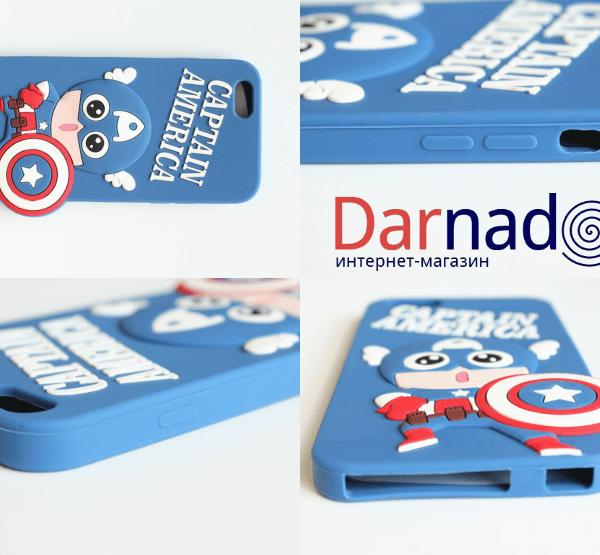 "На картинке чехол ""Мстители"" на айфон 5-5S-6 (Марвел \ Marvel), вид с разных сторон, вариант Капитан Америка."