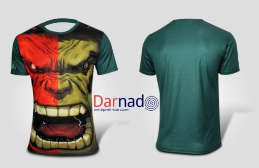 На картинке футболка «Мстители» (Марвел \ Marvel), вид спереди и сзади, вариант Халк.
