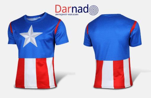 На картинке футболка «Мстители» (Марвел \ Marvel), вид спереди и сзади, вариант Капитан Америка.