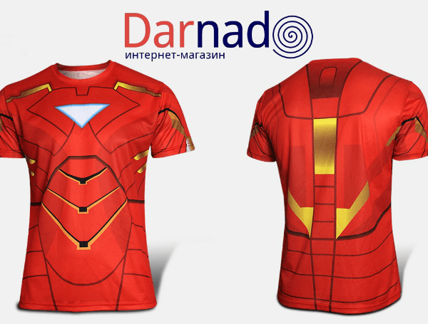 На картинке футболка «Мстители» (Марвел \ Marvel), вид спереди и сзади, вариант Железный Человек.