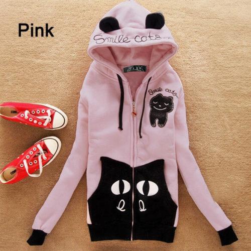 На картинке толстовка кот с ушками (ушами) на капюшоне (5 вариантов), вид спереди, цвет бледно-розовый.