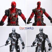 На картинке коллекционная фигурка Дедпула (Дэдпул \ Deadpool) 2 варианта, детали.