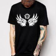 Мода-ручной-футболки-мужчины-сверхъестественное-крылья-человек-футболки-хлопок-о-шея-новый-мужская-футболка-Новый-стиль