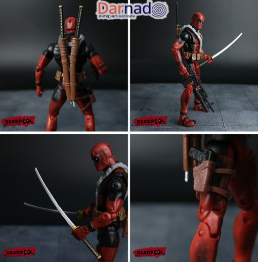 На картинке подвижная фигурка Дэдпула \ Дедпула с набором оружия (Deadpool), детали.