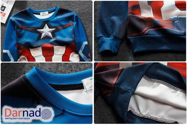 На картинке свитшот Капитан Америка (Мстители), детали.