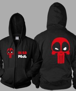 На картинке толстовка Дедпул (Дедпул \ Deadpool), вид спереди и сзади.