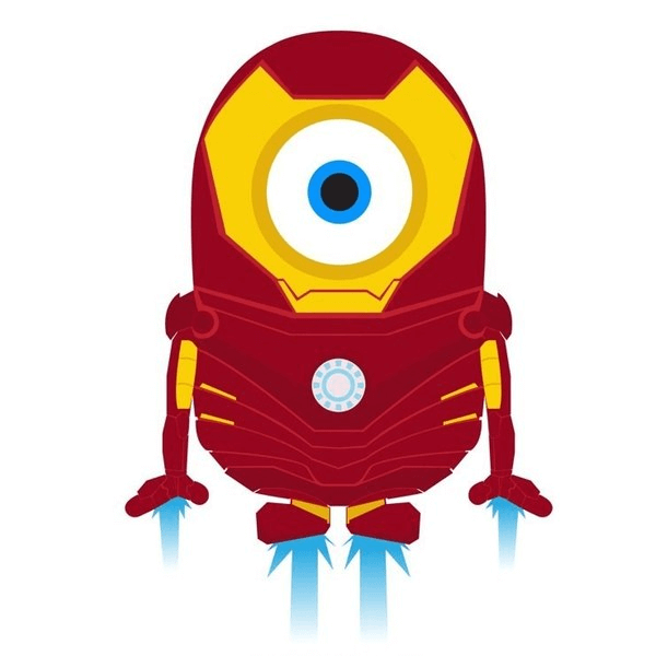 На картинке мягкая игрушка миньон-железный человек (Iron Man), фан-арт.