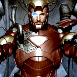 На картинке модель (статуэтка) Тони Старка в костюме Железного Человека (Iron Man Mark 42), кадр из комикса.