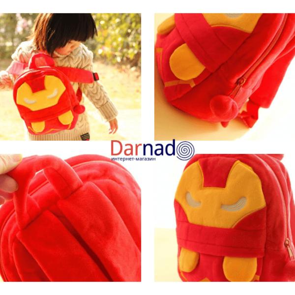 На картинке плюшевый рюкзак Железный Человек (Iron Man), детали.