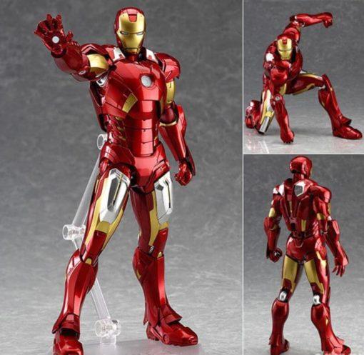 На картинке подвижная фигурка Железного Человека (Iron Man), вид с разных сторон.