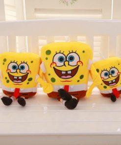 На картинке мягкая игрушка Губка Боб (Спанч Боб) квадратные штаны (3 варианта), вид спереди.