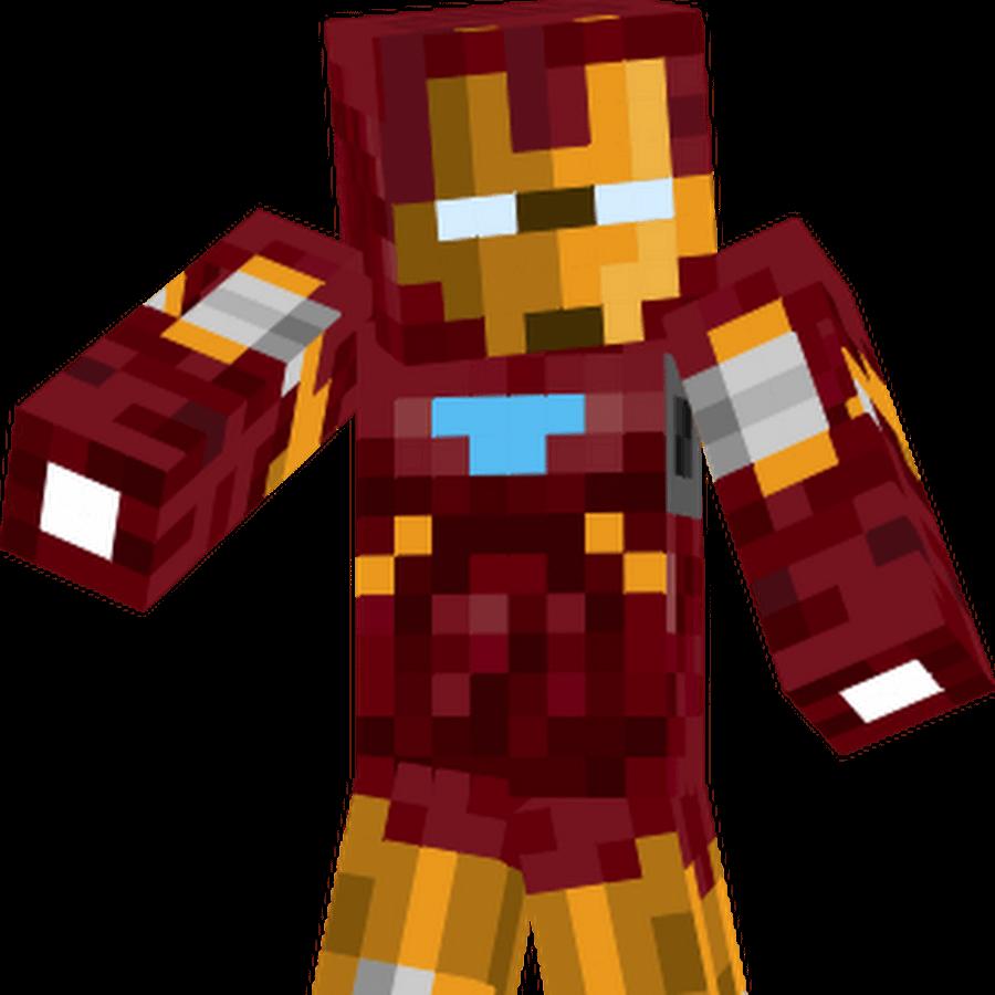 На картинке минифигурка Железный Человек в стиле Майнкрафт (Iron Man).