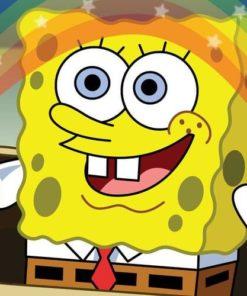 На картинке платье-свитер со Спанч Бобом (Губка Боб), кадр из сериала.