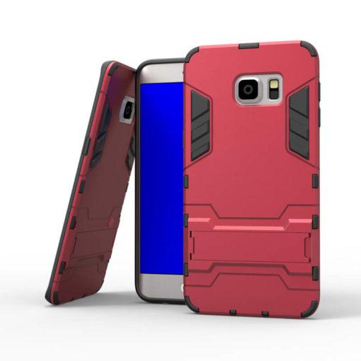 На картинке ударопрочный чехол Железный Человек на Samsung Galaxy S6 Edge (Iron Man), цвет красный.