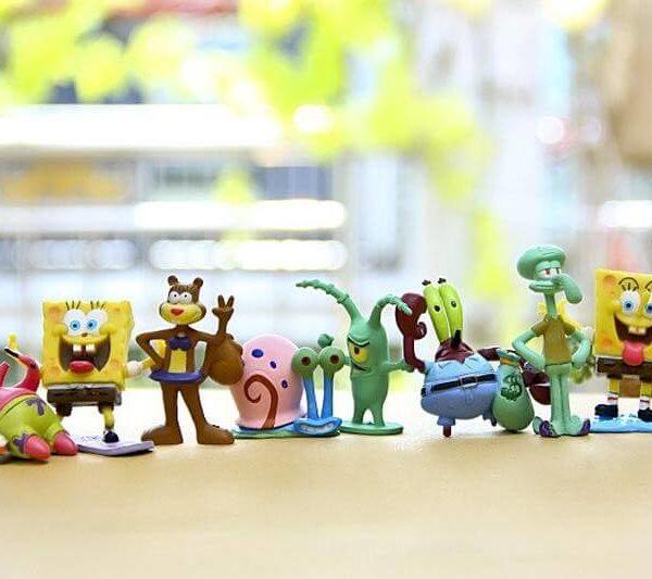 На картинке набор фигурок Спанч Боб (Губка Боб) 8 шт, вид спереди.