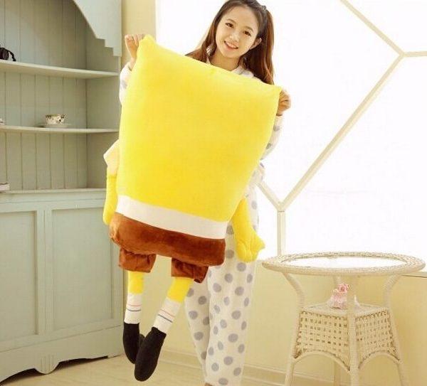 На картинке мягкая игрушка Губка Боб (Спанч Боб) квадратные штаны (3 варианта), вид сзади.