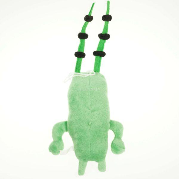 На картинке мягкая игрушка Планктон из Спанч Боба, вид сзади.