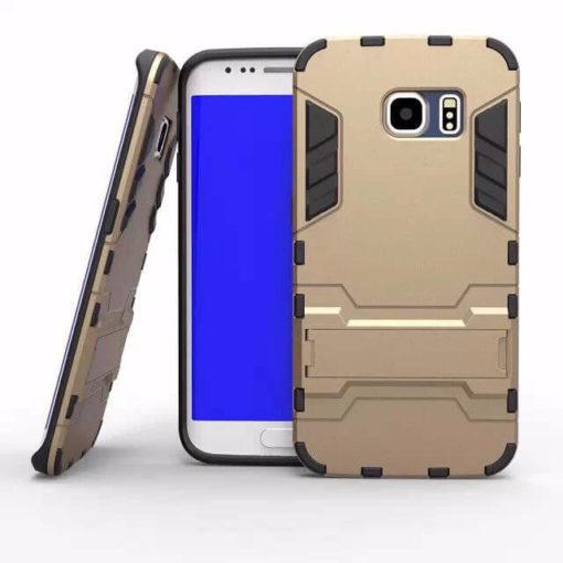 На картинке ударопрочный чехол Железный Человек на Samsung Galaxy S6 Edge (Iron Man), цвет золотой.