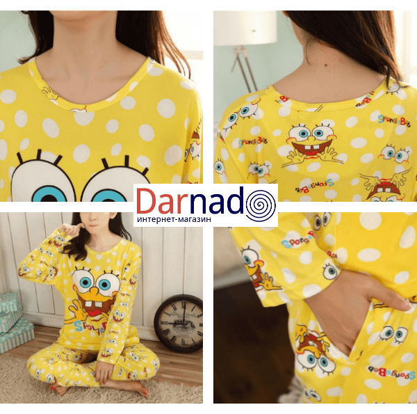 На картинке пижама со Спанч Бобом (Губка Боб) женская, детали.