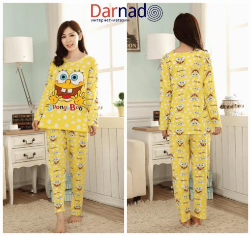 На картинке пижама со Спанч Бобом (Губка Боб) женская, вид спереди и сзади.