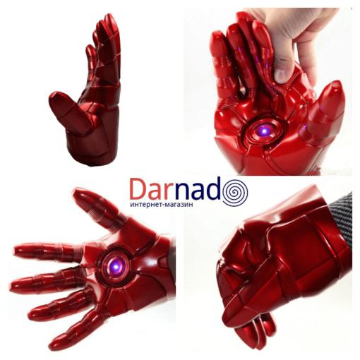 На картинке игрушка в виде руки-перчатки Железного Человека (Iron Man), вид с разных сторон.