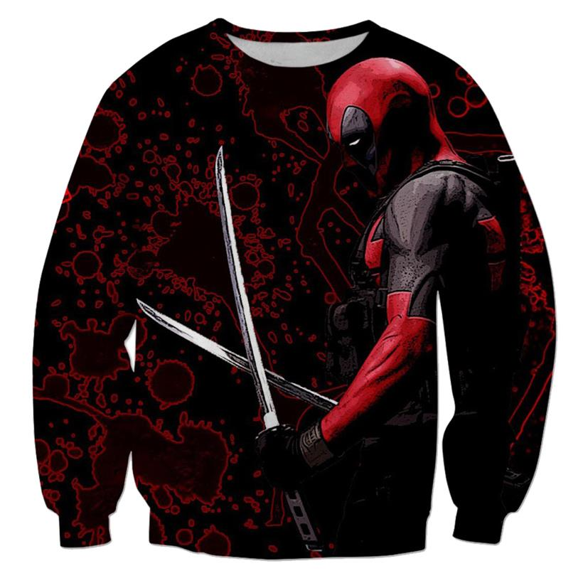 На картинке свитшот с Дэдпулом (Deadpool) 3 варианта, вариант С мечами.