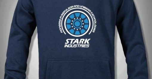 На картинке толстовка с Двигателем Железного Человека (Iron Man) 2 варианта, детали, цвет синий.