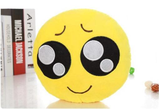 На картинке плюшевые подушки смайлики emoji (12 вариантов), вариант Выпрашивающий.