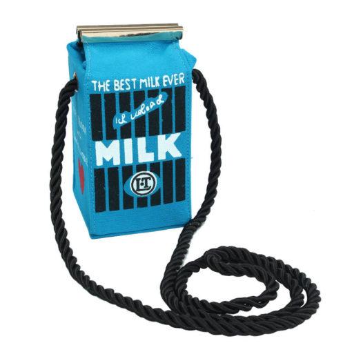 На картинке сумка в виде пакета молока (4 варианта), цвет голубой.