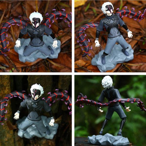 На картинке фигурка Кена Канеки «Токийский гуль» (Tokyo Ghoul), вид с разных сторон.
