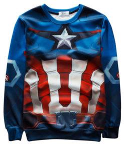 На картинке свитшот Капитан Америка (Мстители), вид спереди.