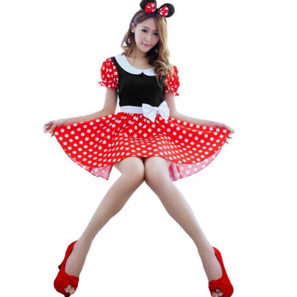 На картинке взрослый костюм Минни Маус в горошек (ушки и платье), вид спереди.