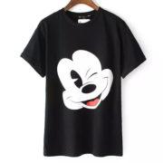 Европейский-стиль-высокая-микки-знаки-принт-лето-футболки-женщины-базовые-комикс-T-рубашка-Camisetas-Feminino