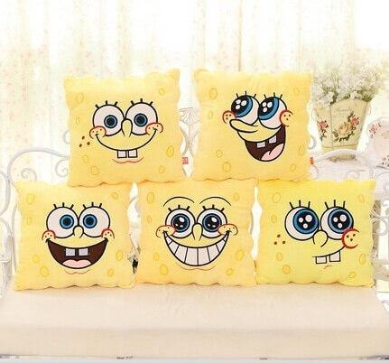 На картинке подушка в виде Губки Боба (Спанч Боб) 5 вариантов.