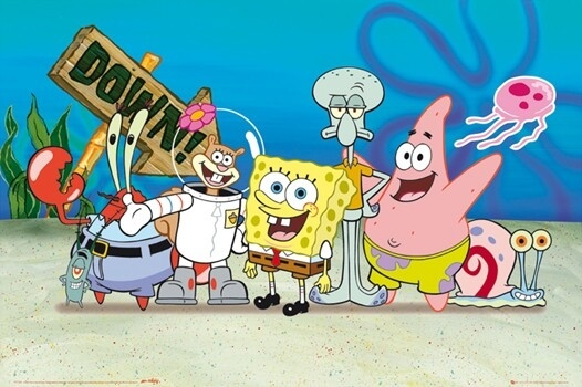 На картинке набор мягких игрушек из мультика Губка Боб (Спанч Боб), кадр из сериала.