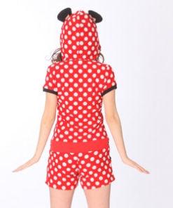 На картинке пижама Минни Маус с ушками на капюшоне, вид сзади.