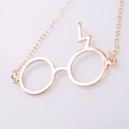 На картинке кулон очки Гарри Поттера (Harry Potter) 2 варианта, вариант Золотой.