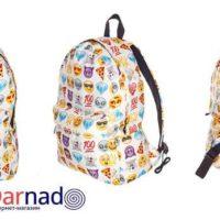 На картинке рюкзак со смайликами (смайлами) из вк (2 варианта), вид с разных сторон, вариант Белый.