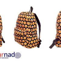 На картинке рюкзак со смайликами (смайлами) из контакта, вид с разных сторон.