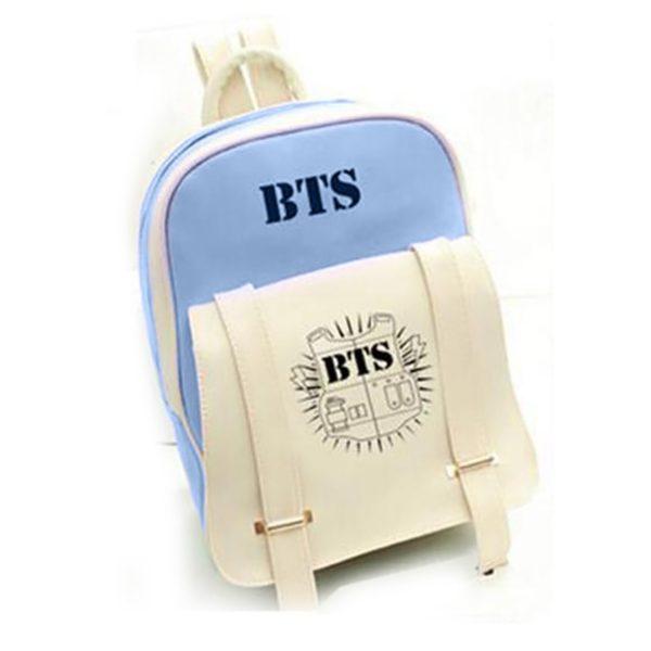 На картинке рюкзак Bangtan Boys (группа BTS), вид спереди, цвет синий.