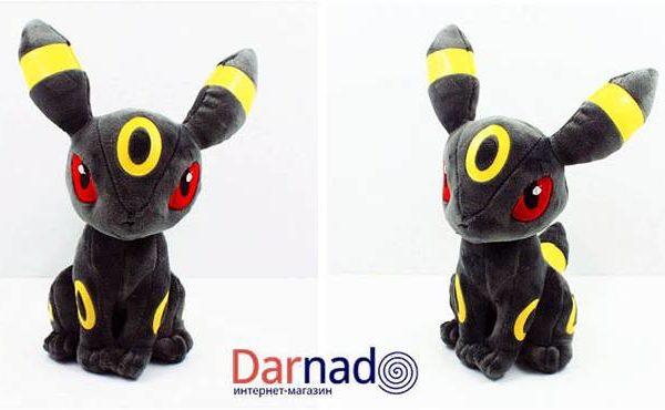 На картинке мягкая игрушка покемон «Умбреон» Umbreon (3 варианта), вид спереди.