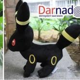 На картинке мягкая игрушка покемон «Умбреон» Umbreon (3 варианта), вид с разных сторон.
