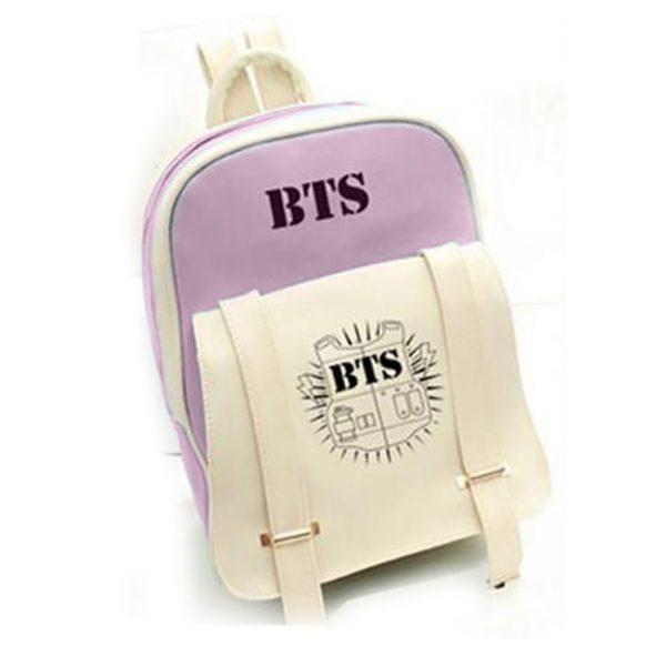 На картинке рюкзак Bangtan Boys (группа BTS), вид спереди, цвет фиолетовый.